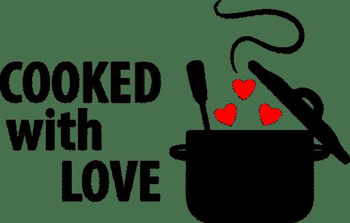 Samolepka S láskou vařené, samolepka na auto, sklo, notebook. Vinylová samolepka S láskou vařené