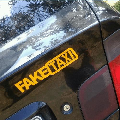 Samolepka Fake taxi na auto v Brne