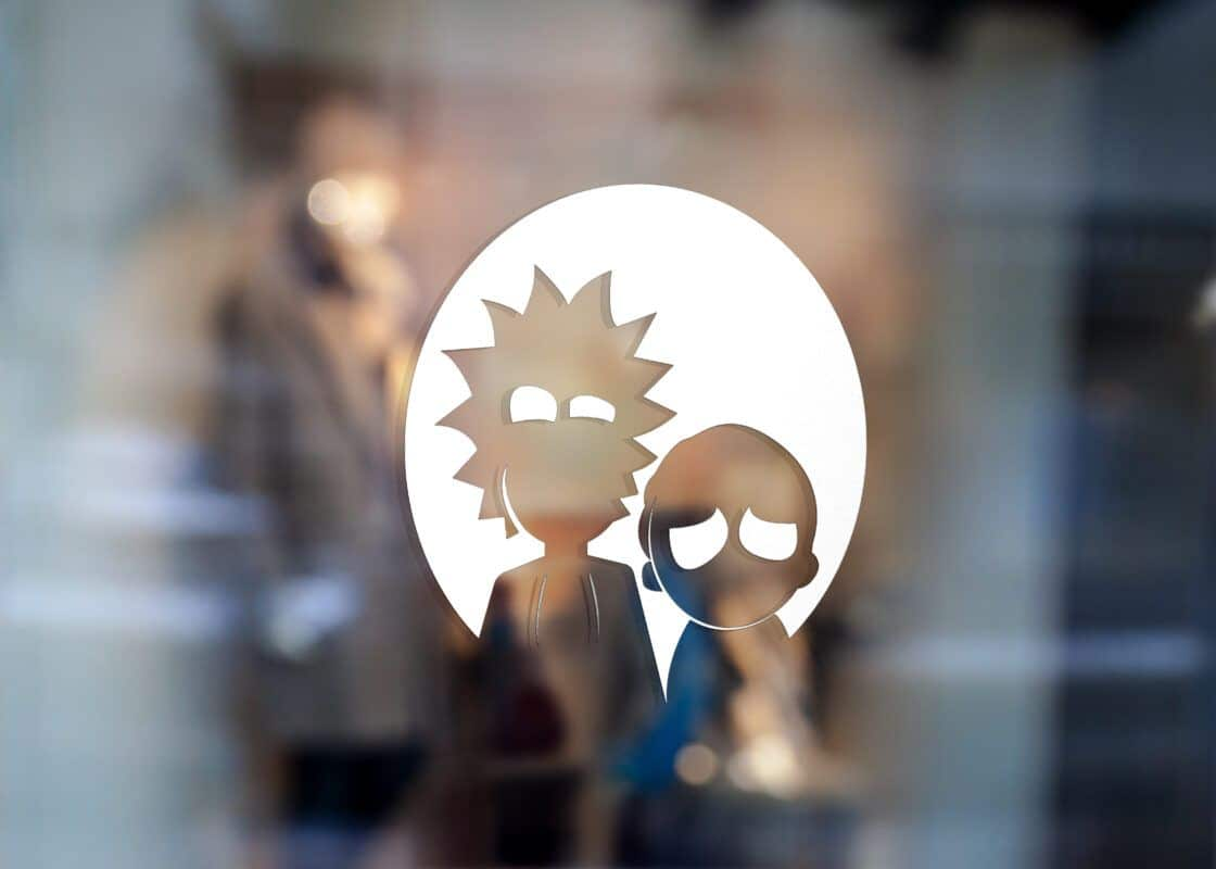 Samolepka Rick and Morty, samolepky na sklo Rick and Morty v Brně