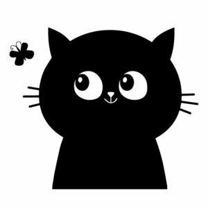 Samolepka Kočka s motýlem na WC v Brně,samolepka na WC prkénko v Brně