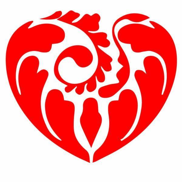 Cervena Samolepka Dekorativní srdce na auto, okno, notebook nebo zeď v Brně