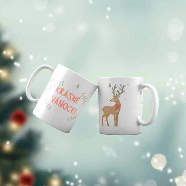 Bílý keramický vánoční hrnek Vánoční jelen s potiskem v Brně