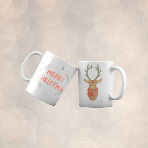 Bílý keramický vánoční hrnek Merry Christmas Deer s potiskem v Brně