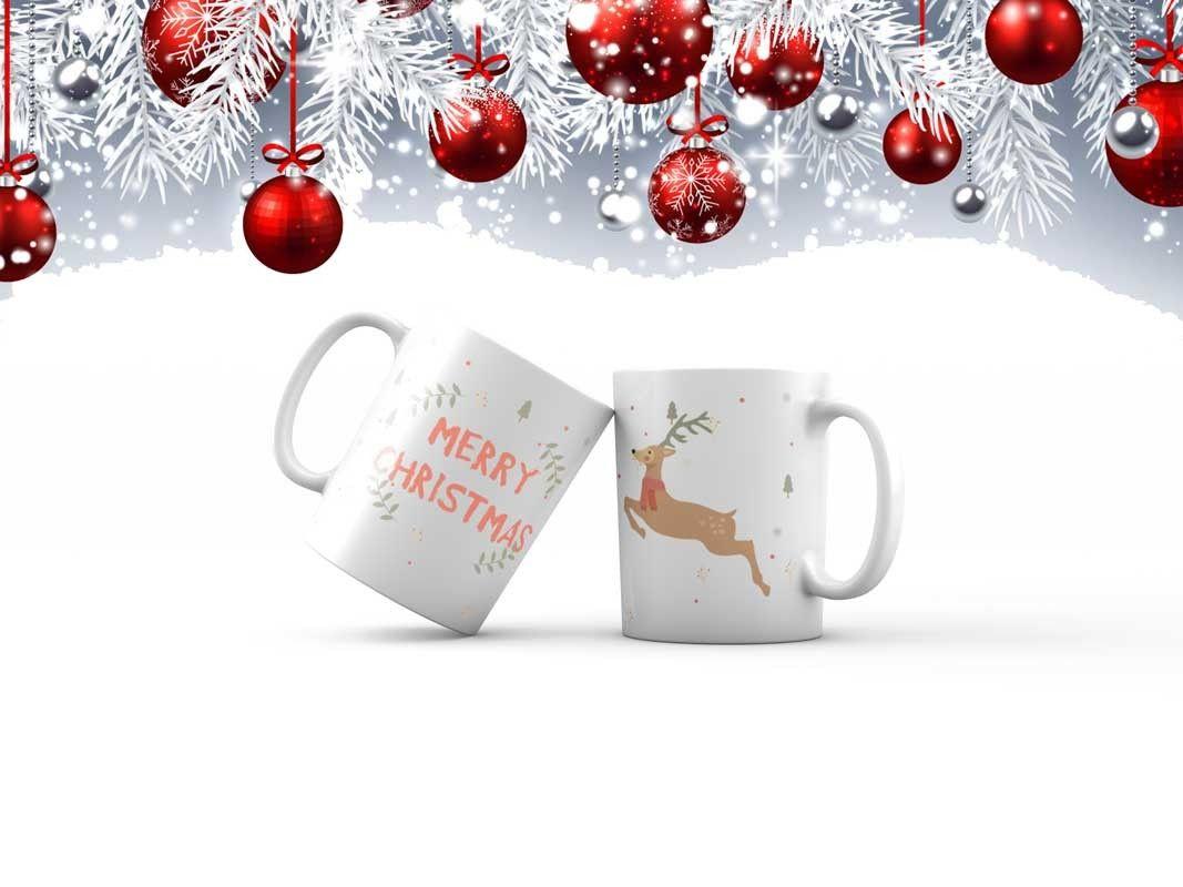 Bílý keramický vánoční hrnek Merry Christmas s potiskem v Brně