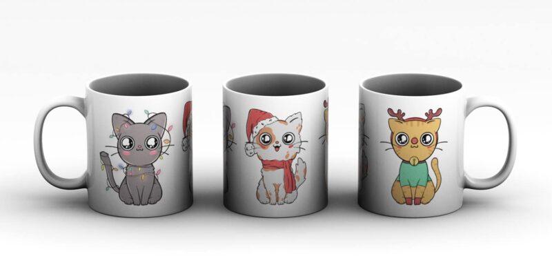 Vánoční hrnek Veselé kočky