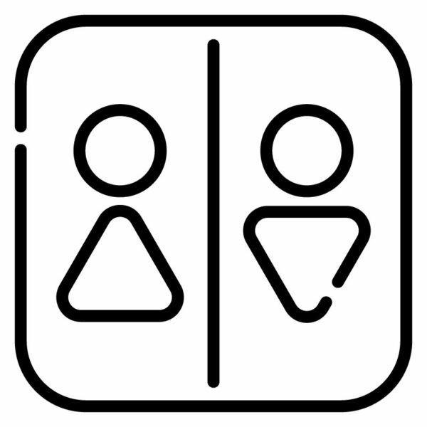 Samolepka siluety na dveře WC Lineal v Brně, samolepka na WC