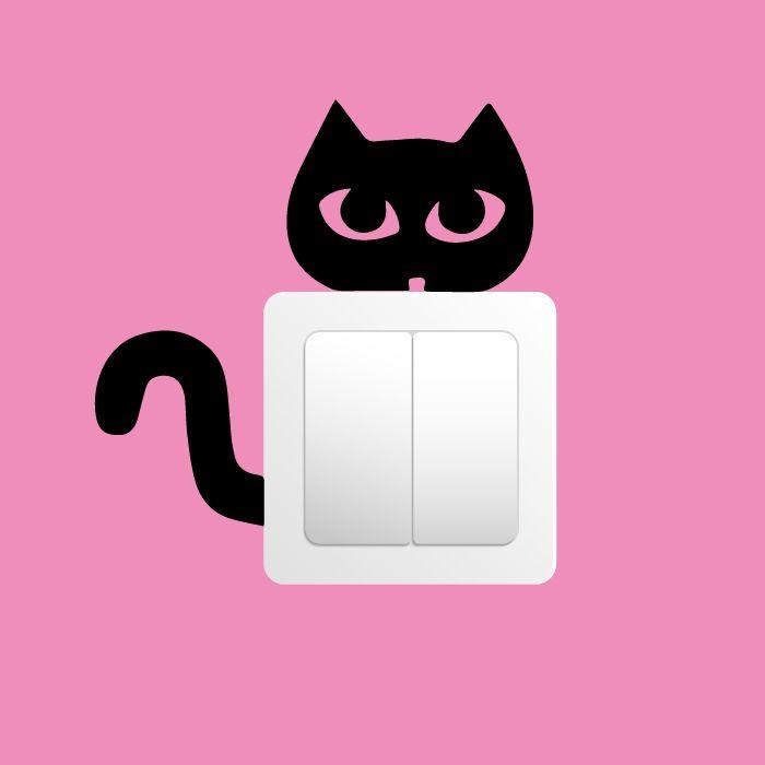 Samolepka na zeď - Kočka na vypínač