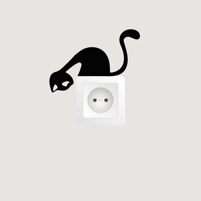 Samolepka na zeď - Kočička na vypínač