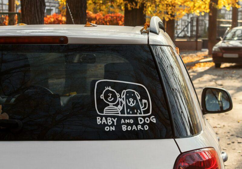 samolepka na auto Dítě a pes v autě