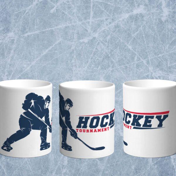 Bílý keramický hrnek pro hokejistu Hockey Tournament