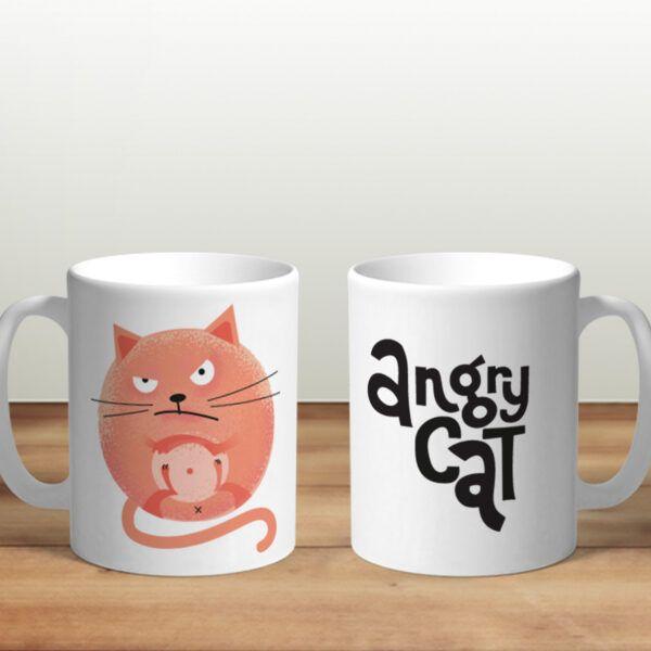 Bílý keramický hrnek Angry Cat