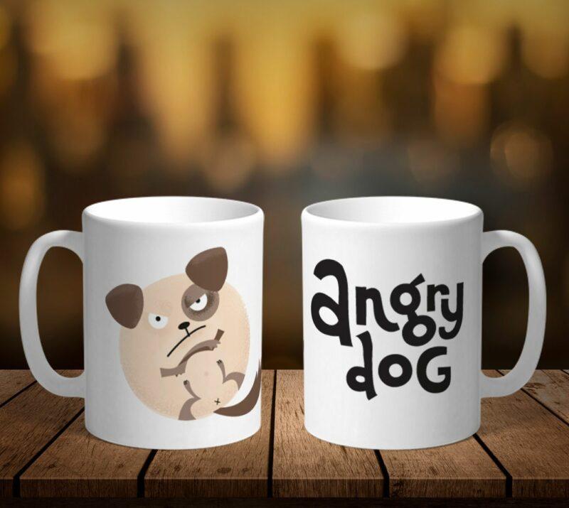 Bílý keramický hrnek Angry Dog