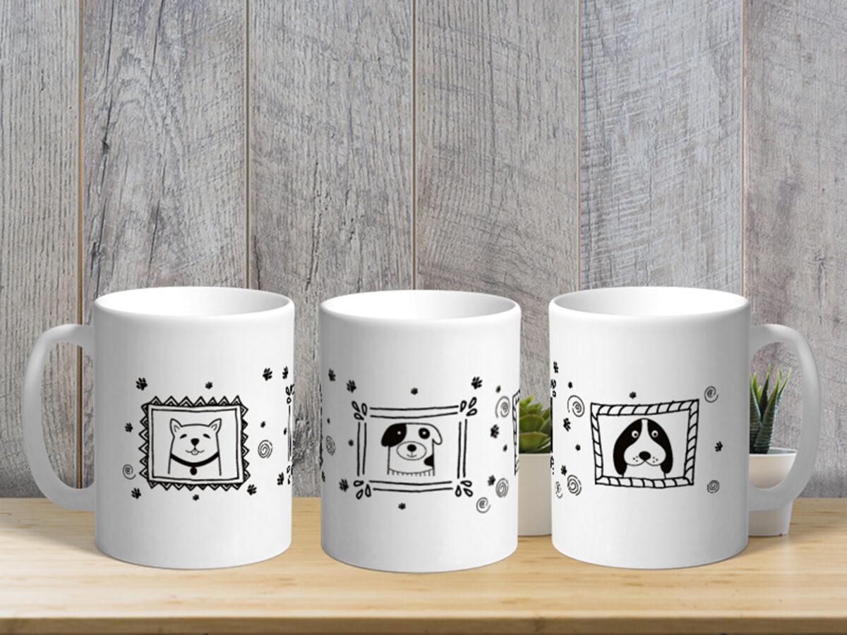 Bílý keramický hrnek Galerie - Psy