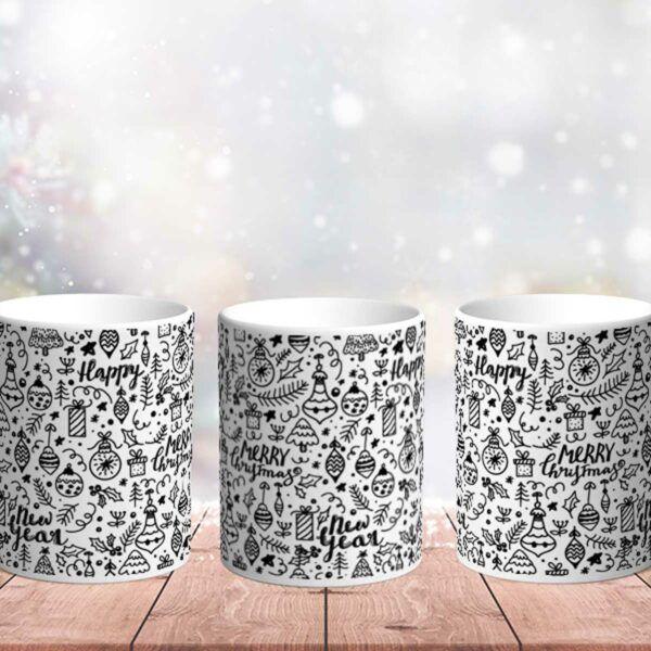 Bílý keramický vánoční hrnek Merry Christmas Black Style