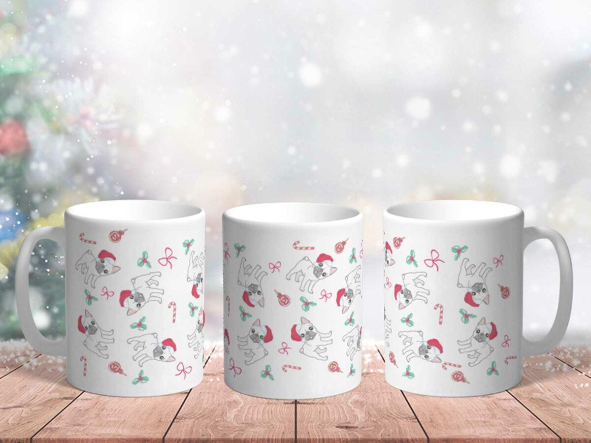 Bílý keramický vánoční hrnek Pejsek