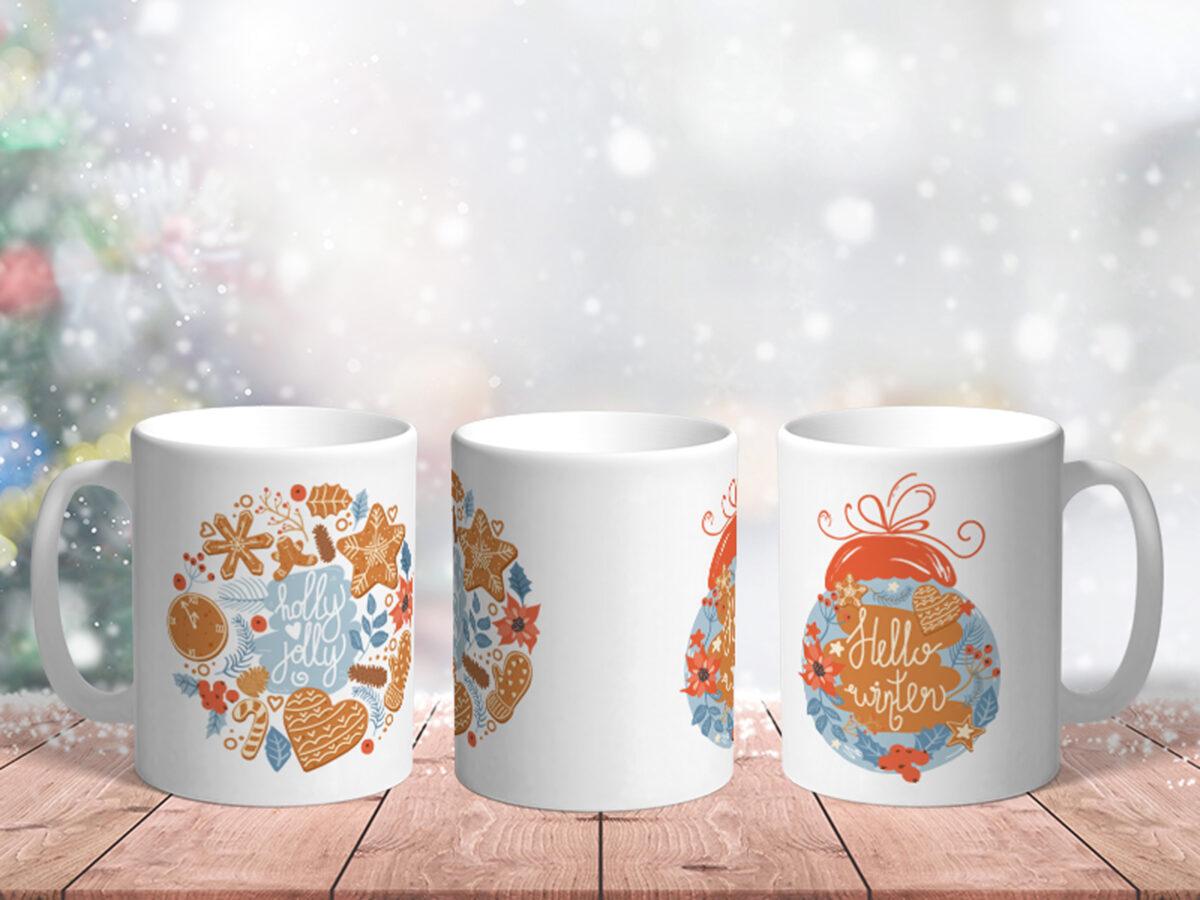 Bílý keramický vánoční hrnek Hello Winter