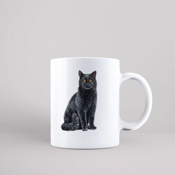 Bílý keramický hrnek s černou kočkou