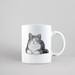 Bílý keramický hrnek s kočkou Americká krátkosrstá kočka v Brně
