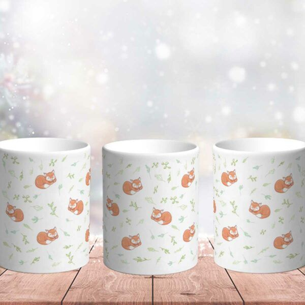 Bílý keramický vánoční hrnek Liška