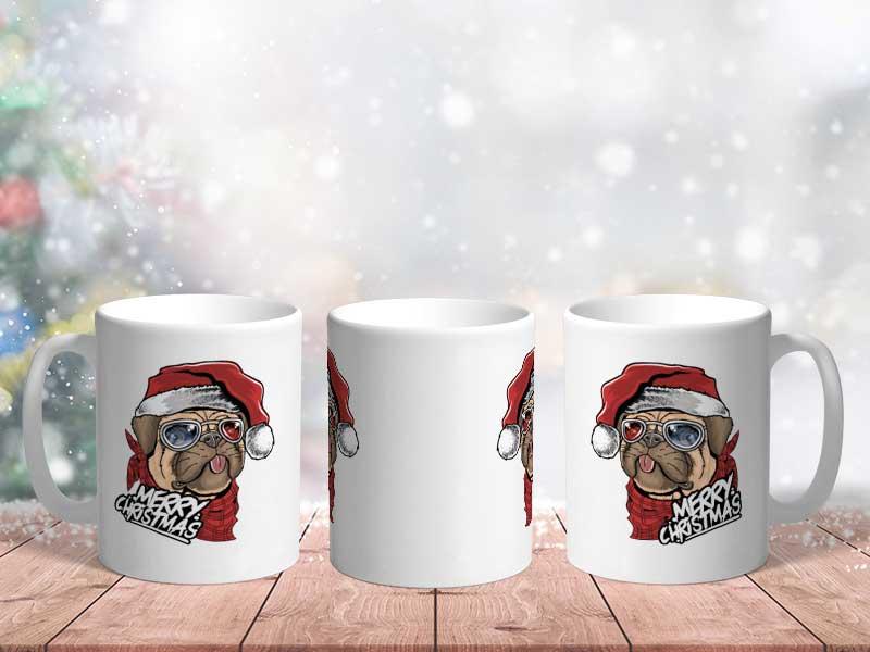 Bílý keramický vánoční hrnek Merry Christmas - Pes