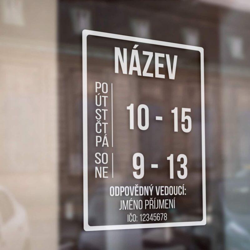 Otevírací doba obchodů, prodejny na výlohu, sklo