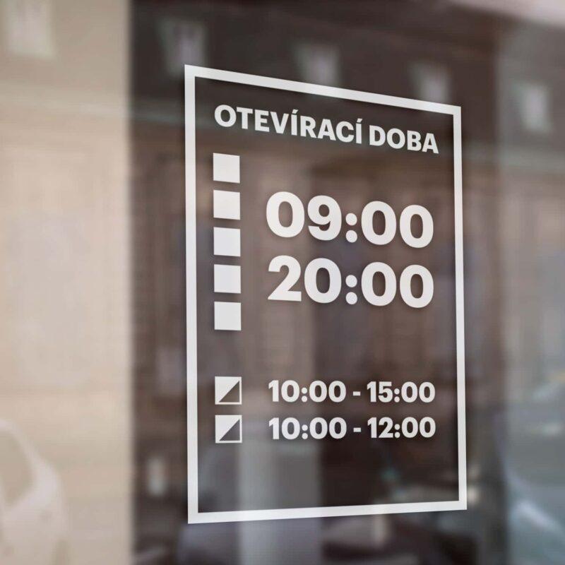 Otevírací doba na výlohu, sklo