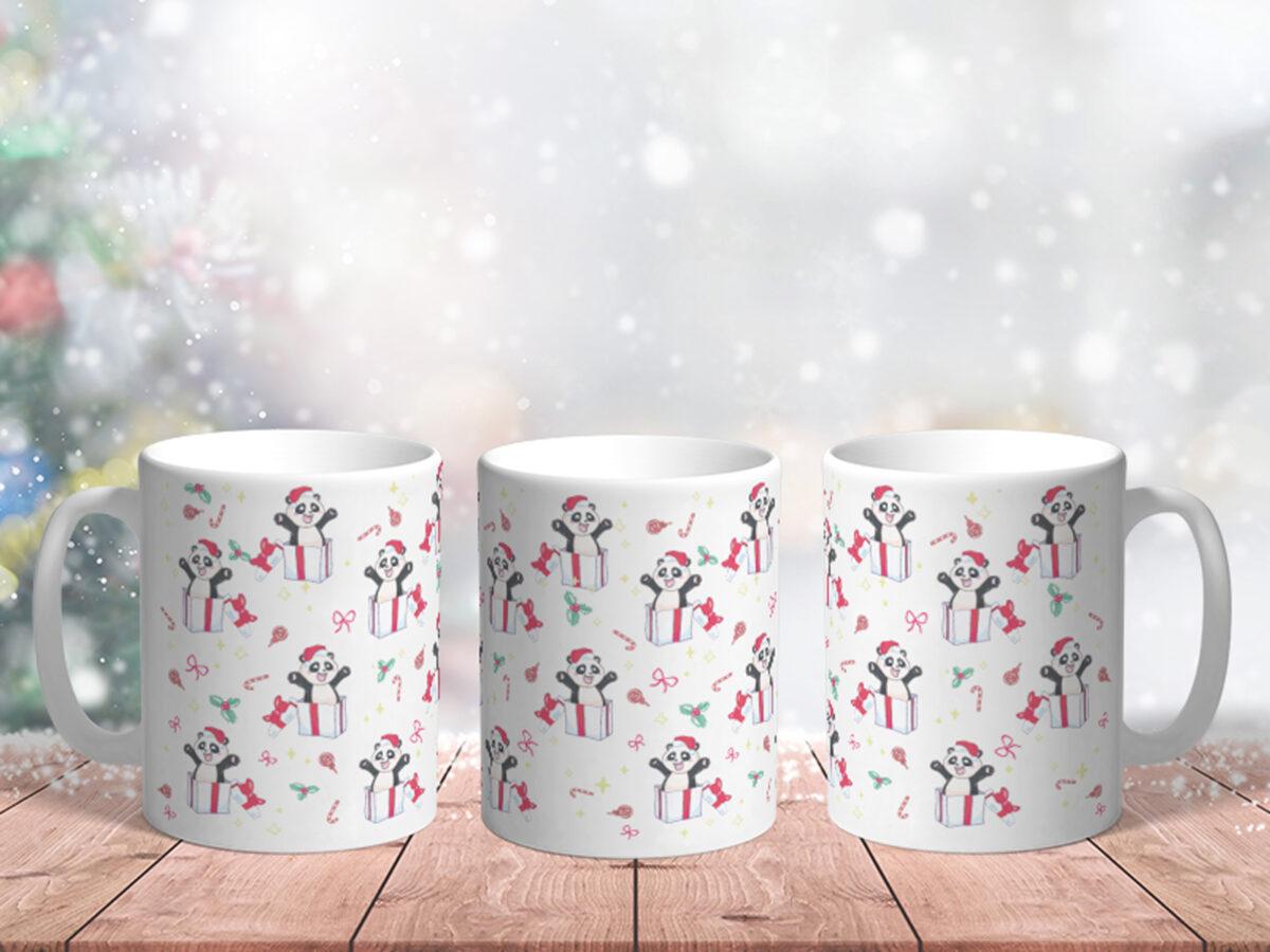 Bílý keramický vánoční hrnek Panda