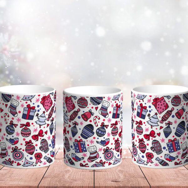 Bílý keramický vánoční hrnek Vánoční mix