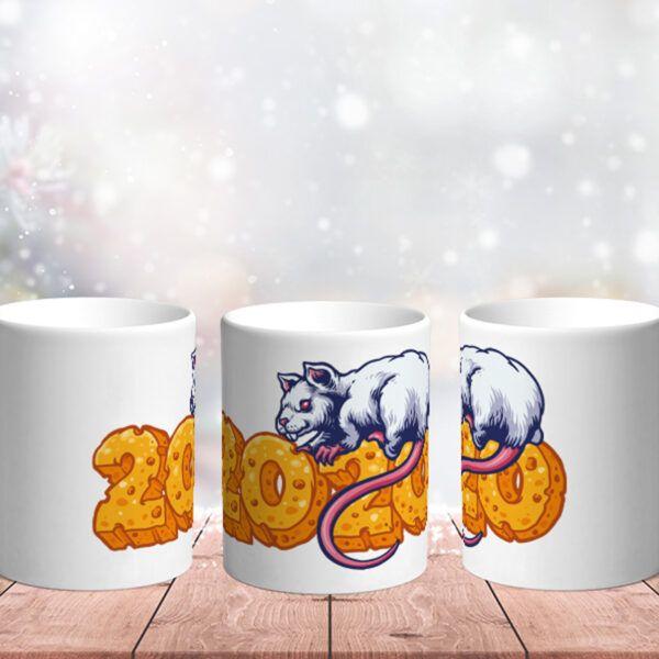 Bílý keramický vánoční hrnek Krysa - symbol roku 2020