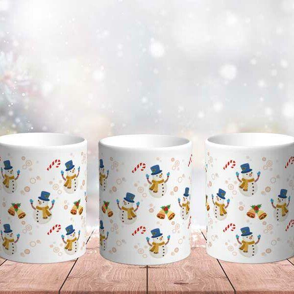 Bílý keramický vánoční hrnek Sněhulák