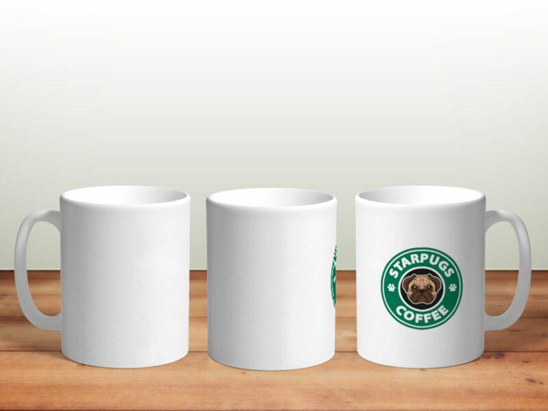Bílý keramický hrnek STARPUGS COFFEE