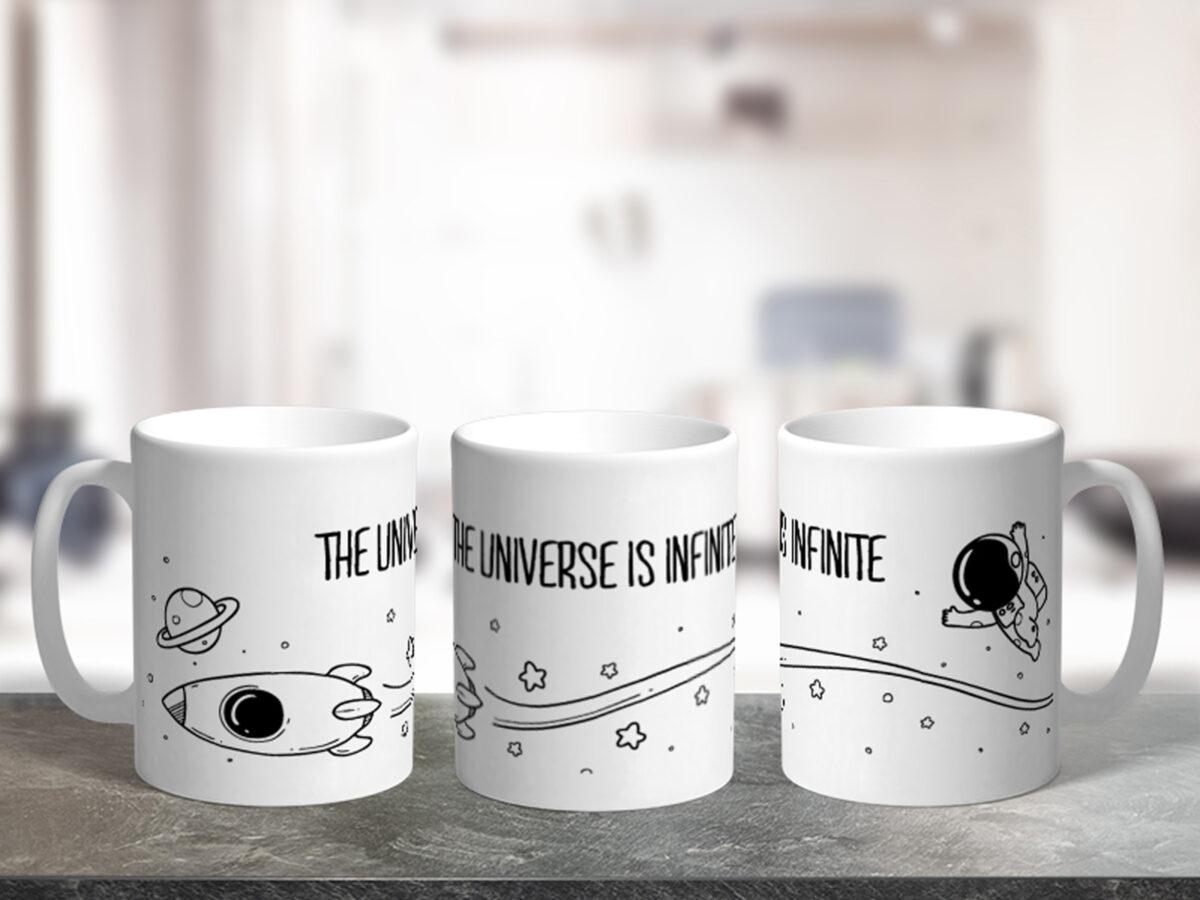 Bílý keramický hrnek The universe is infinite
