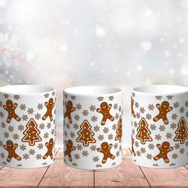 Bílý keramický vánoční hrnekPerníkový človíček
