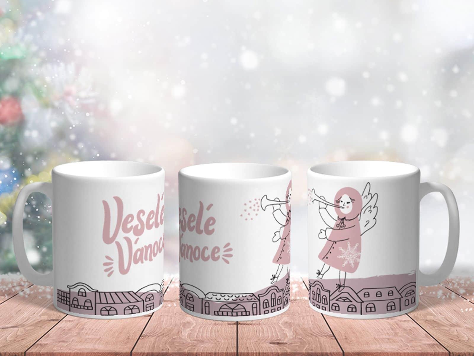 Bílý keramický vánoční hrnek Veselé Vánoce