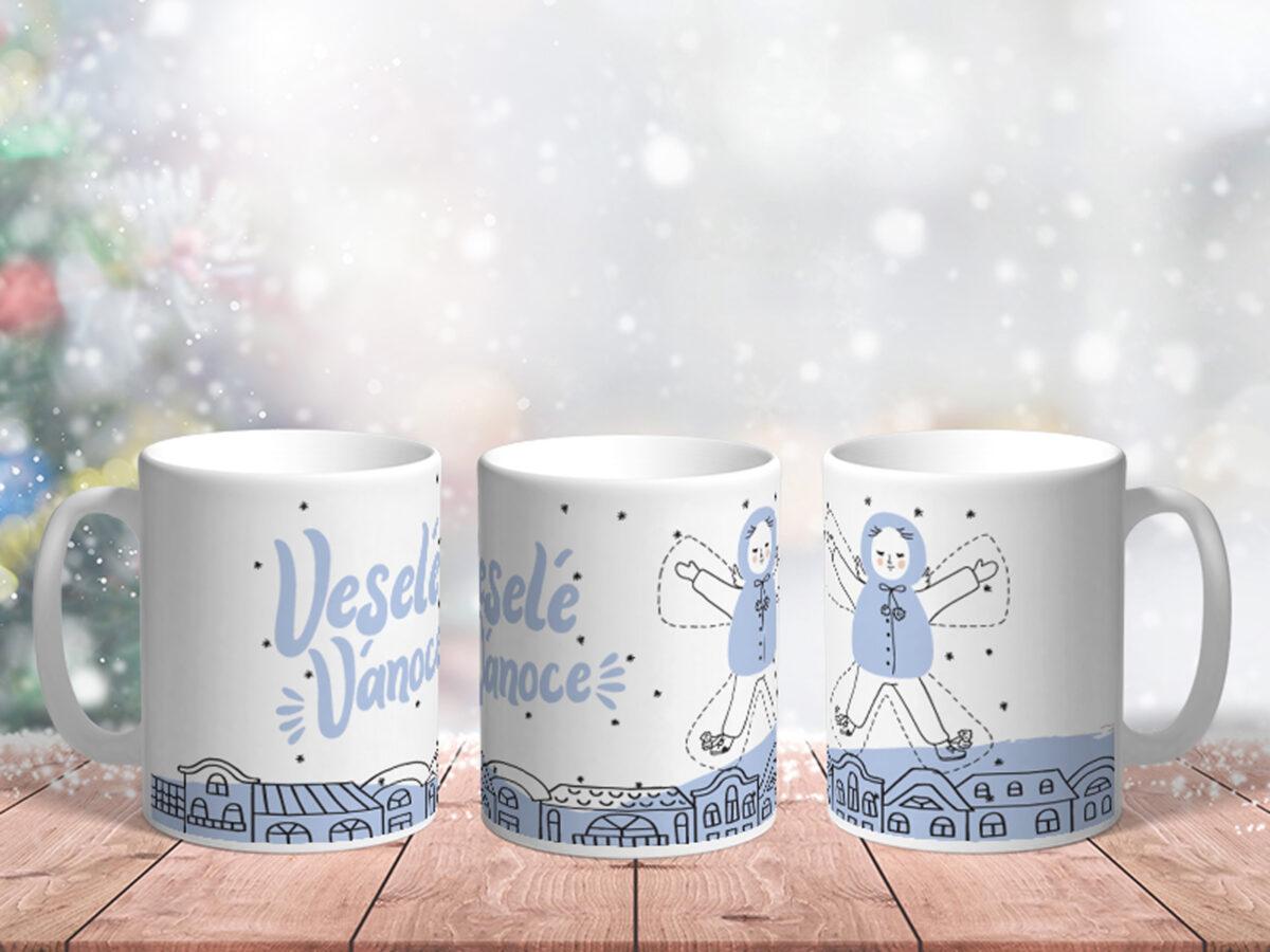 Bílý keramický vánoční hrnekVeselé Vánoce Modrý anděl