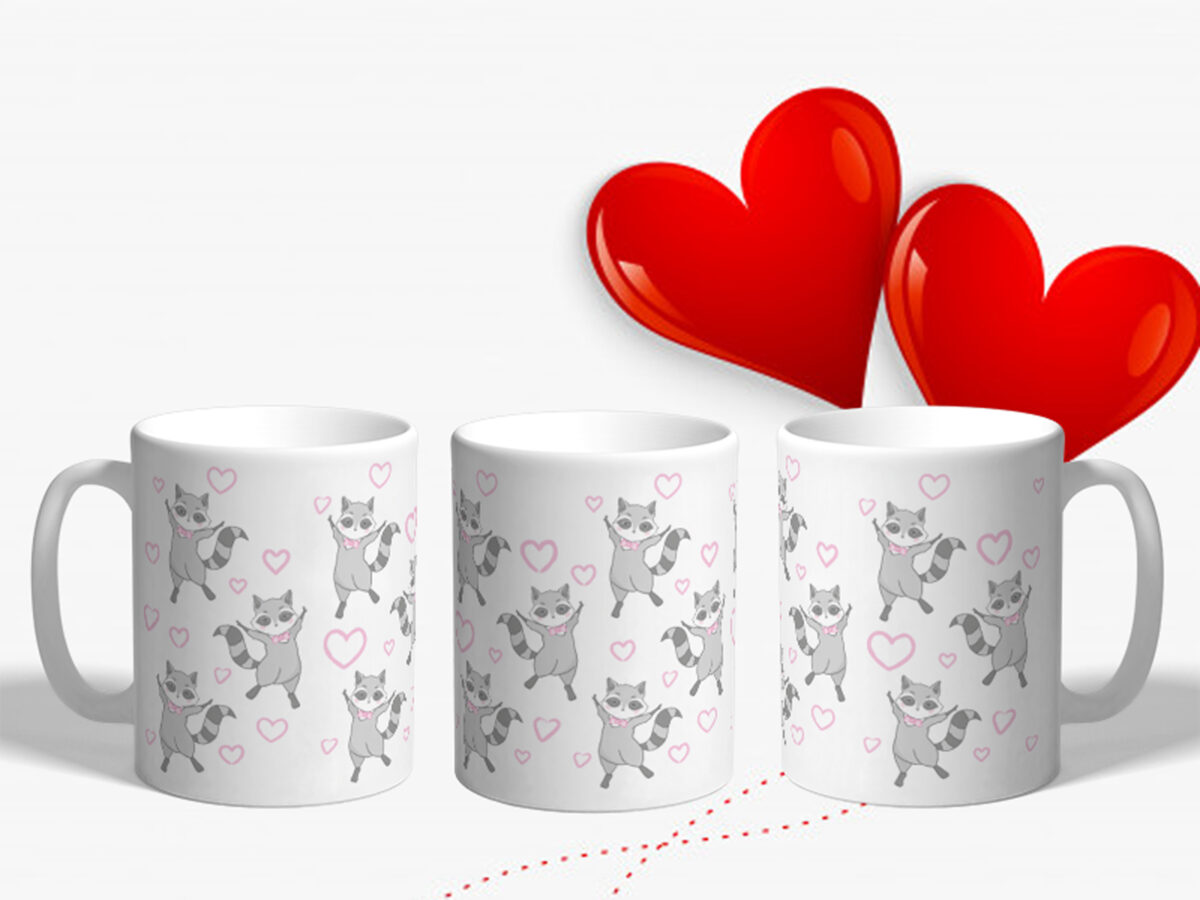 Bílý keramický hrnek Zamilovaný mýval