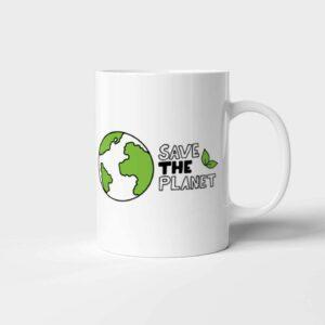 Bílý keramický hrnek Save the Planet
