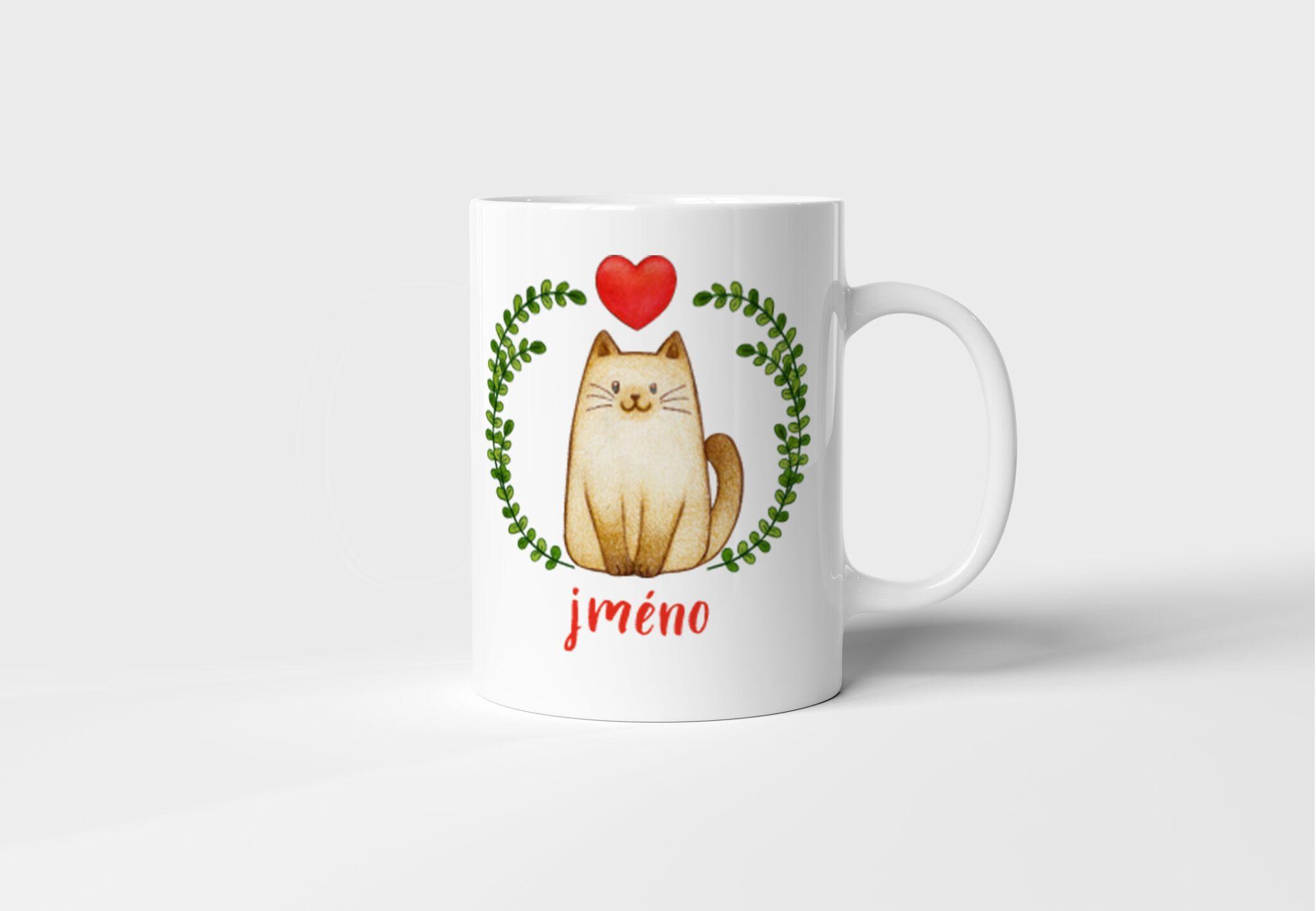 Bílý keramický hrnek Kočička se jménem nebo bez