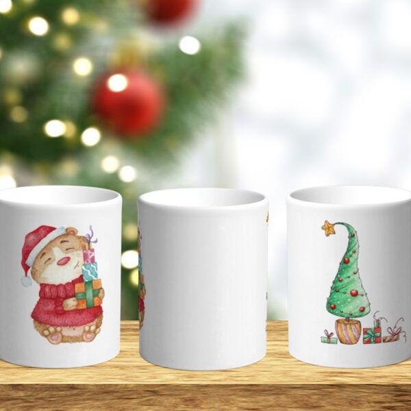 Bílý keramický vánoční hrnek Křeček a vánoční stromeček