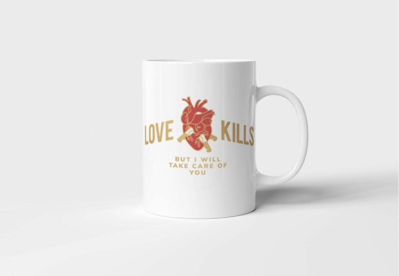 Bílý keramický hrnek Love Kills