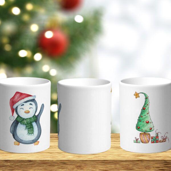 Bílý keramický vánoční hrnek Tučňák a vánoční stromeček