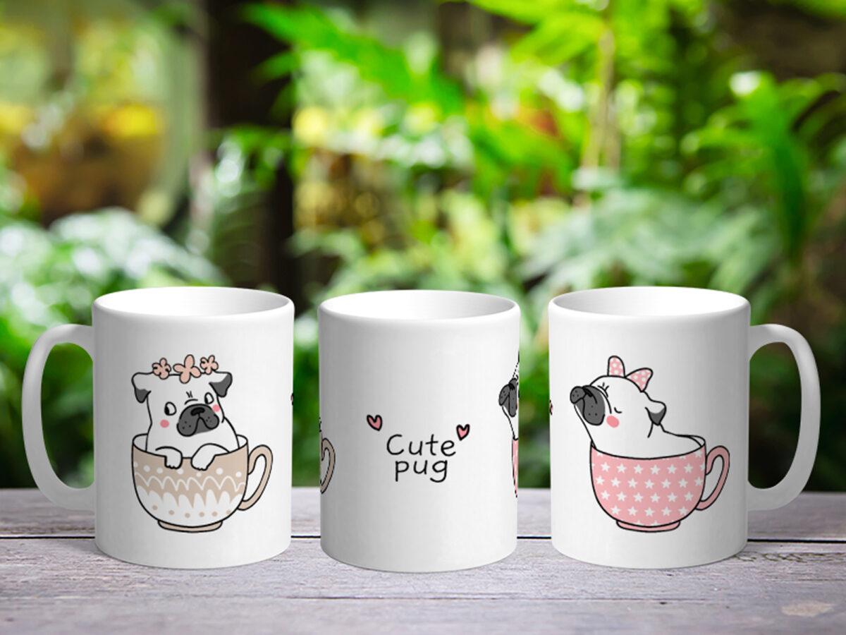 Bílý keramický hrnek Cute Pug