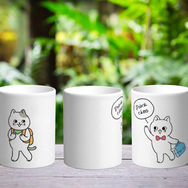Bílý keramický hrnek Dobré ráno - kočky
