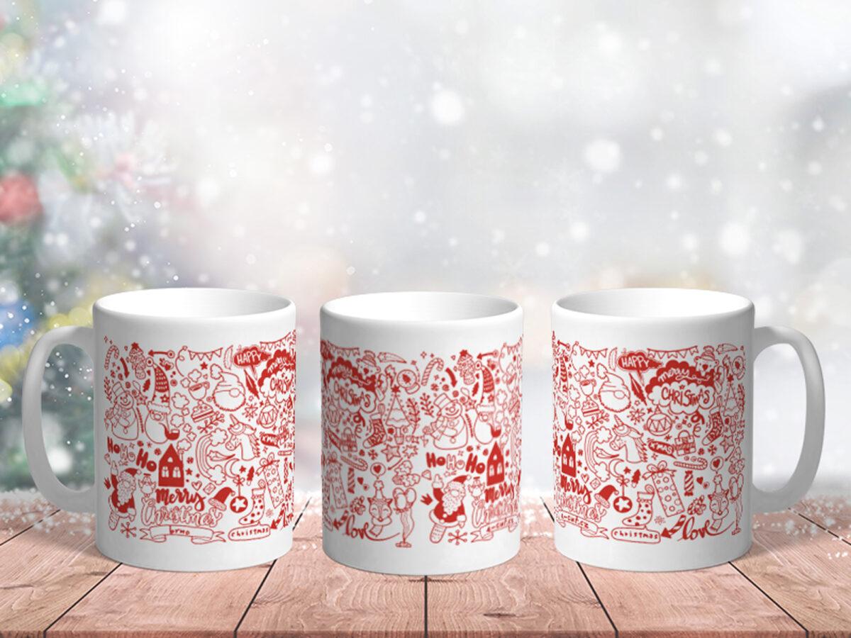 Bílý keramický vánoční hrnek E-cut Christmas Original