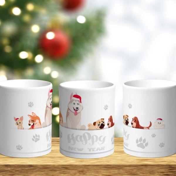 Bílý keramický vánoční hrnek Happy New Year - zvířata