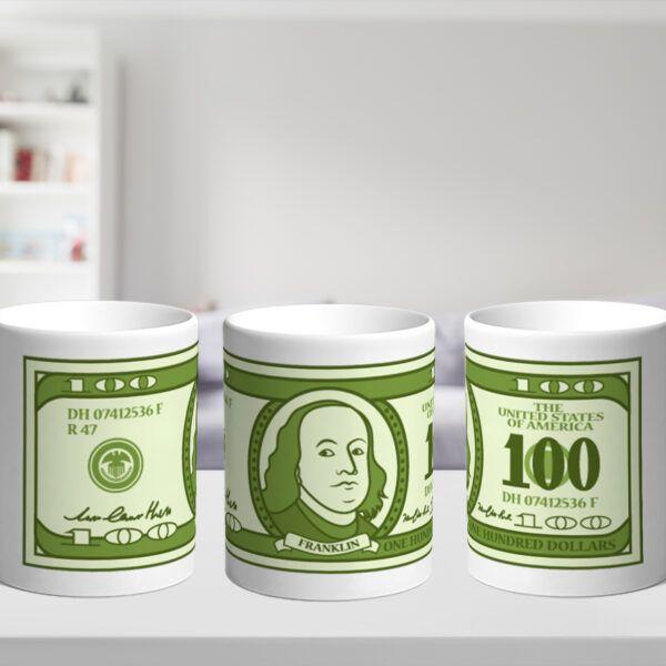 Bílý keramický hrnek 100$
