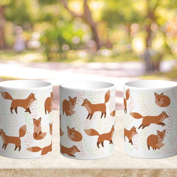 Bílý keramický hrnek Cute Foxes