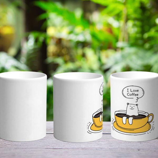 Bílý keramický hrnek I Love Coffee