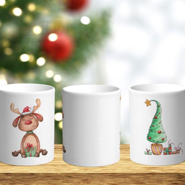 Bílý keramický vánoční hrnek Jelen a vánoční stromeček