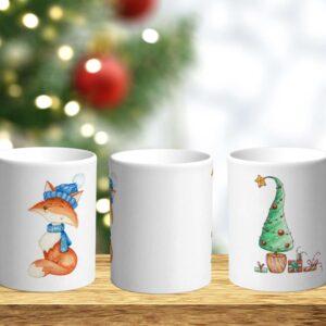 Bílý keramický vánoční hrnek Liška a vánoční stromeček